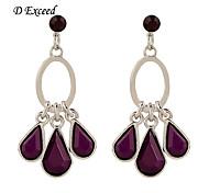 2016 New Design Diamond Solid Purple Teardrop Pendant Stud Earrings for Women ER140062