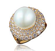 Ring Perle vergoldet 18K Gold Gold Weiß Schmuck Hochzeit Party Alltag Normal 1 Stück