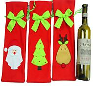 3PCS Santa Claus Christmas Decorations Tie Set Of Champagne Wine Bottle Wine Set Wine Bag Gift Bag