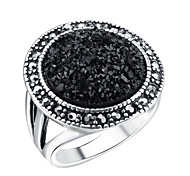 Retro Black Beads Simulated Emerald Ring Women Fashion Ring Jewelry