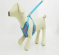 Dog Harness Adjustable/Retractable / Handmade / Soft Stripe / Geometic Blue Nylon