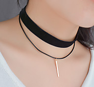 Women New Flannel Wax Line Double Layer Choker Metal Bar Pendant Necklace Birthday / Party / Daily / Casual / Christmas Gifts