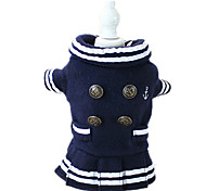 Dog Dress Dog Clothes Casual/Daily Solid Dark Blue Ruby