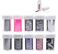 New 100Designs Nail Art Transfer Foil Paper 10pcs + 1pcs Nail Foil Glue (from #61 to #70)