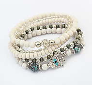 Women European Style Fashion Multilayer Beaded Cute Palm Strand Bracelet