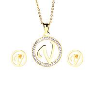 placcato in oro 18k kalen®fashion acciaio inox capitale lettera v pendente collana e gioielli orecchini set per le donne