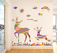 Colored Elk Cartoon Removable Decorative Stickers / Christmas Window Stickers