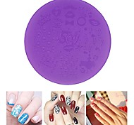 1pcs Purple Plastic Nail Art Stamping Plates 7cm  Stencil Manicure Pedicure Nail Template Tools
