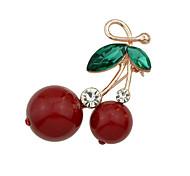 New Cute Rhinestone Cherry Shape Brooches Jewelry
