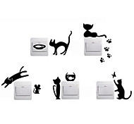 1Set DIY Cat Fish Mouse Switch Sticker Wall Quote Wall Stickers Vinyl Mural Decor