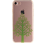For iPhone 7 6S 6 TPU Material IMD Process Green Tree Pattern Phone Case