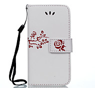 Rose-Sided Embossed Flower Pattern Lanyard PU Leather for iPhone 5 5S 5E 6 6 Plus 6S 6S Plus