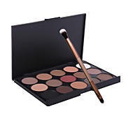 15 Color Eyeshadow Palette  Matte / Shimmer Eyeshadow palette Travel Size Daily Makeup / Party Makeup with Double-Ended Eye Shadow Brush