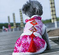 Dog Coat / Hoodie / Jacket Red / Yellow / Green / Pink Dog Clothes Winter / Spring/Fall Stripe Cute / Casual/Daily /