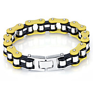 Kalen Costume Jewelry 316 Stainless Steel Yellow Bicycle Chain Bracelet Fashion Single Layer Men's Bike Chain Bracelets Gifts