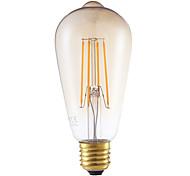 4W E26/E27 Lâmpadas de Filamento de LED ST64 4 COB 350 lm Âmbar Regulável / Decorativa AC 220-240 V 1 pç