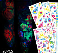 20 Tattoo Stickers Animal Series / Flower Series / Totem Series / Others / Cartoon Series / Romantic SeriesNon Toxic / Pattern /