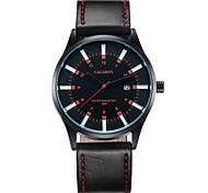 Men's Fashion Wrist Quartz Watch with Calendar Leather Black Band