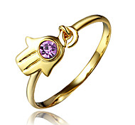 Little Hand Design Yellow Gold Plated Ring for Teen Girl