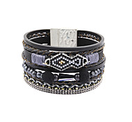 Fashion Women Multi Rows Seedbeads Leather Wrap Bracelet