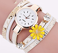 Fashion Women Flower Leather Bracelet Watch Casual Ladies Quartz Wrist Watch Relogio Feminin