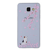 For Samsung Galaxy A8(2016) A8 A7 A5 A3 A510 A310 Case Cover Cherry Cat  Painted Pattern TPU Material Phone Case