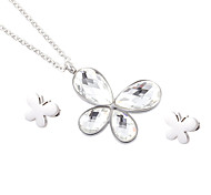 Kalen New Beautiful Stainless Steel Glass Butterfly Pendant Necklace And Stud Earrings Jewellry Set for Girls Women Ladies