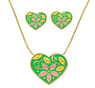 Big Heart Necklace And Earring Jewelry Sets