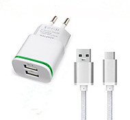 Dual USB EU Plug Wall Charger Adapter USB 3.1 Type-C Charger Cable for Doogee T3 F7 Pro Travel Charger Type C Charging Cable