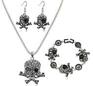 Parure di gioielli Resina Lega Di tendenza A forma di teschio Nero Rosso Verde Quotidiano 1 Set 1 collana 1 paio di orecchini 1 bracciale