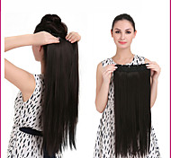 "24"" 140g 1Pc Clip In Long Straight Hair Extensions Synthetic Heat Resistant Fiber Multicolor Hair Pieces"