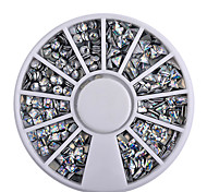 4 Styles Silver / 3D Shiny Metallic Luster Nail Decoration Wheel Round Stickers Area Punk Rivet Studs