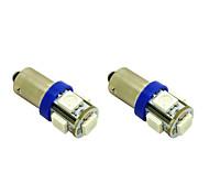 bax9s h6w 1w 5x5050 SMD luzes azuis levou lâmpada para lâmpada do carro (12V DC, 2-pack)