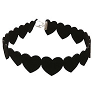 Women's Choker Necklaces Circle Heart Flower Lace Unique Design Love Simple Style Fashion European Black Jewelry For Daily Casual 1pc