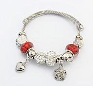 Damen Bettelarmbänder Liebe Modisch Europäisch Stahl Herzform Silber Schmuck Für Weihnachts Geschenke 1 Stück