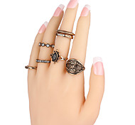 Ring Acrylic Party Daily Casual Jewelry Alloy Women Ring 1set Silver Fashion Personality Beautiful Ancient 7pcs