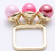 Women Three - color Pink Square Fashion Dress Dinner Decoration Ring
