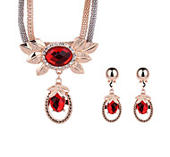 Women Gold Wedding Gifts Party Alloy Ruby Crystal Flower Pattern Bohemia Necklace Earrings Two-piece Set