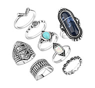 Ring Acrylic Party Daily Casual Jewelry Alloy Women Ring 1set Silver Fashion Personality Beautiful 8pcs