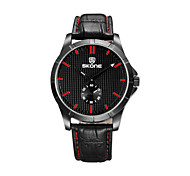 SKONE Brand 3D Grain Face PU Leather Strap Fashion Men's Watch Casual Black