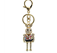 Creative fashion diamond metal rabbit Keychain key ring buckle lady bag