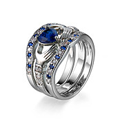 Brand Fashion Design Big Sapphire-Blue Heart Wedding Rings For Women Romantic AAA Cubic Zirconia Ring Female #95455
