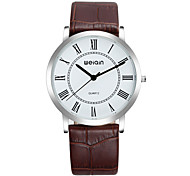 Unisex Fashion Watch Quartz Genuine Leather Band Black Brown