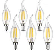 4W E14 Lampadine LED a incandescenza CA35 4 COB 400 lm Bianco caldo Luce fredda AC 220-240 V 6 pezzi
