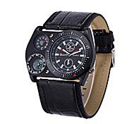 Men's Leather Band Japan Movt Quartz Watch 2 Time Zone Fashion Sport Army Sport Watch