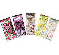 5pcs Starry Sky Flower Nail Art Foil Transfer Sticker Nail Care Colored Flower Decal Manicures Tool