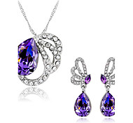 Jewelry Set Amethyst Crystal Rhinestone Alloy Purple Wedding Party Daily 1set 1 Necklace 1 Pair of Earrings Wedding Gifts
