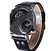 Men's Sport Watch Military Watch Fashion Watch Wrist watch Quartz Compass Dual Time Zones Genuine Leather Band Vintage Casual Black Brand