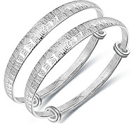 Bracelet Bangles S999 Sterling Silver Others Fashion Birthday Gift Jewelry Gift Silver1 pair