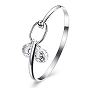 Lucky Doll Bracelet Bangles Cubic Zirconia Copper Silver Plated Birthday Gift Daily Jewelry Gift Silver1pc